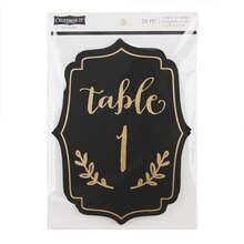 Celebrate It Occasions Table Number Plaques, Black & Gold